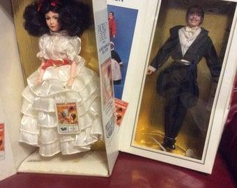 Rhett Butler Scarlett O'Hara MIB World Doll Pair Movie Great Collection Tuxedo White Ruffled Dress
