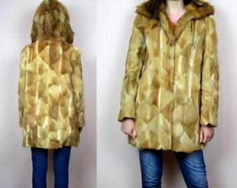 vintage ginger FUR COAT patchwork design // winter coat// S M