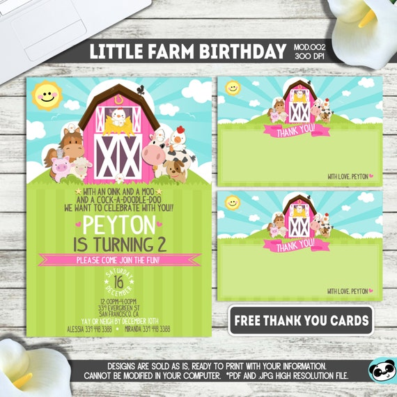 PRINTABLE || Little Farm/Barnyard|| Girl Birthday Invitation|| FREE Thank you cards|| Any occasion, any wording!!