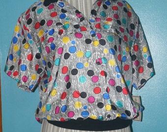 1980's Pop Art Button-Up Shirt with Collar by Lauren Lee