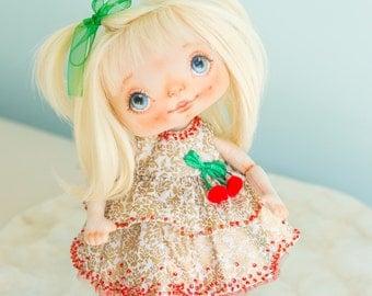 OOAK rag doll, fabric doll, cloth interior doll, handmade doll, unique doll, home decoration, blond hair doll - AliceMoon #9