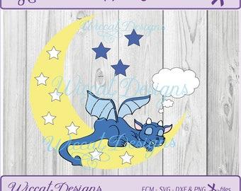 dragon svg, dragon on the moon, baby dragon svg, Nursery dragon, baby gift, newborn svg, dxf file, svg cricut file, iron on, vinyl craft