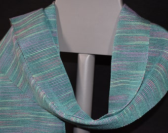 Handwoven Tencel/Cotton Scarf - Teal and Variegated