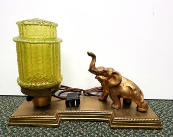 Art Deco Gold Cast Elephant Lamp, Re-Wired, Shade As Is