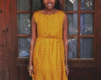 yellow/long silk dress small print