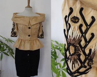 ORRIER, cocktail dress peplum Paul-Louis ORRIER, pencil skirt, open shoulders, 80's, beige/black, Pearl, straw, stone, vintage, France