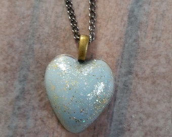 Blue/Gold Heart Necklace