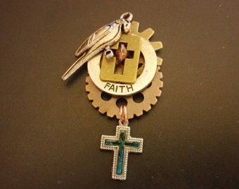 Steampunk Religious Cross Necklace