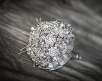 "Wedding Bouquet - ""BRОOCH"" - Bridal bouquet - Bouquet beads -Bunch of beads-Brooch bouquet crystals-Amazing-Jewellery bouquet-Silver"