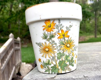 Yellow Floral Planter