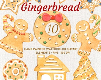 Gingerbread - Watercolor  Clipart, Christmas decorations, Holiday, Sweets