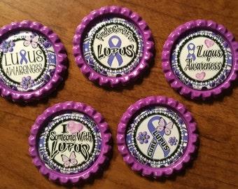Handmade LUPUS Awareness BottleCap Magnets, Set of 5
