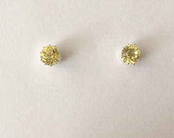Vintage 1980's Yellow Round Faceted Swarovski Crystal Glass Claw Bezel Stud Statement Earrings