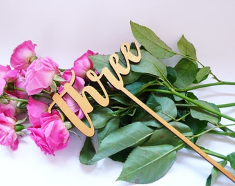 Wooden Table Numbers Golden Table Numbers Wedding Table Numbers Wedding Table Decor Script Table Numbers Table Number Sticks