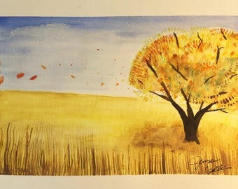 Autumn Field - Original Watercolor Painting