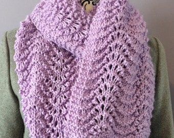 Knit Scarf, Purple Scarf, Mauve Scarf, Hand Knit Scarf, Ladies Scarf, Hand Knit Lilac Fan and Feather Scarf