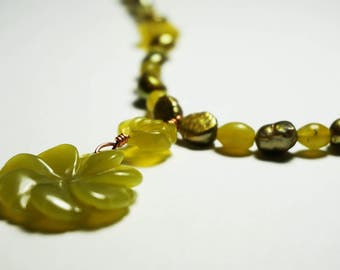 "Olive Green Necklace - ""Olive Rose"""