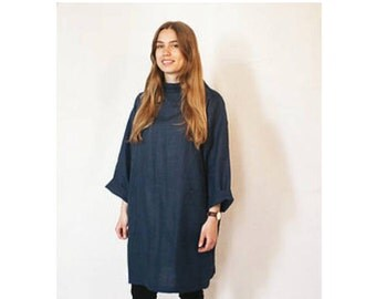 Smock Dress Blue 100% linen handmade in UK relaxed free size