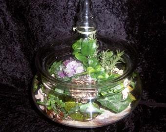FREE SHIPPING,Artificial Terrarium Planter,Silk Botanical Artificial Plants, Glass Pedestal  Terrarium, Nautical Decoration, Flowering Plant