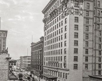 Minneapolis MN, Hotel Radisson and 7th St. Photo, Minnesota, Wall Art, Home Decor, Print Minneapolis, Black and White, Historical Photo