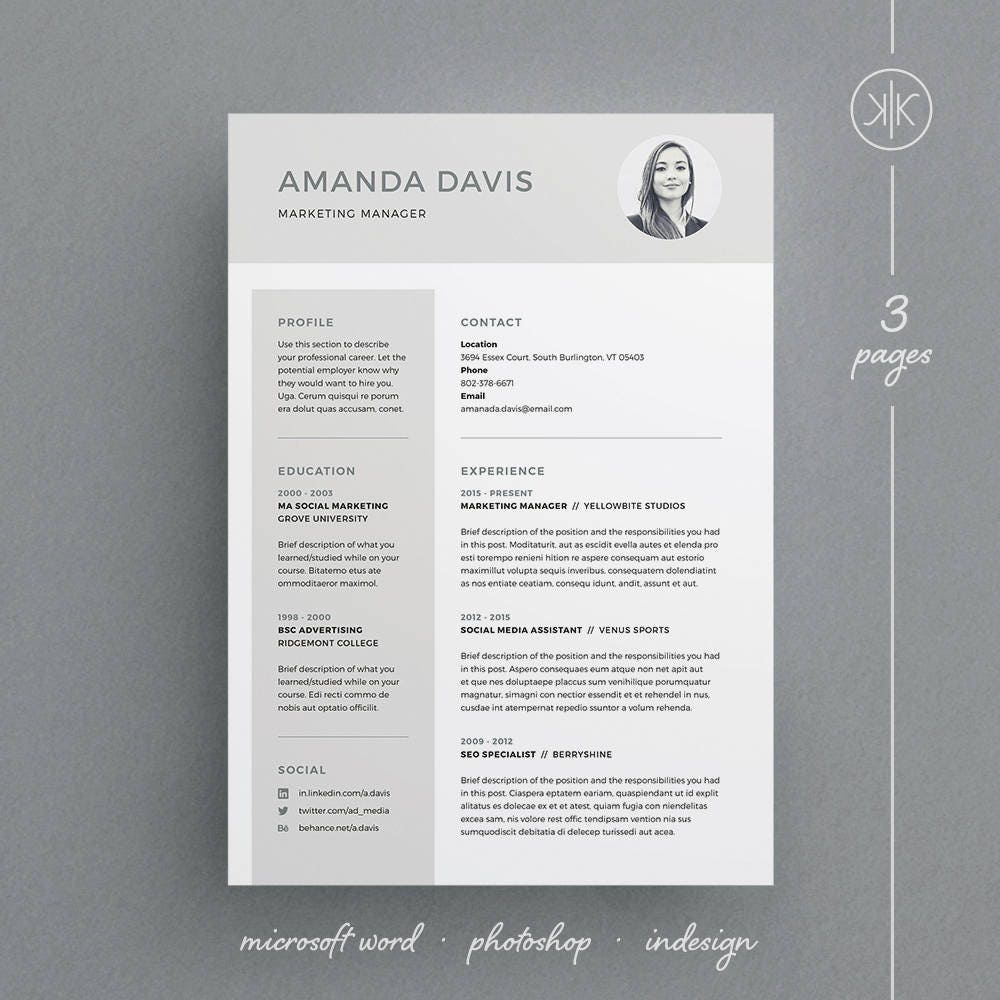 amanda resume  cv template word photoshop indesign