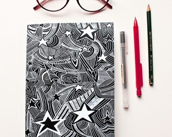Illustrated Star Notebook - A5 Notebook - Black Stars