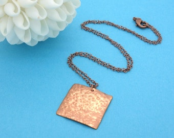 Copper Necklace Copper Pendant Square Necklace Hammered Copper Hammered Metal Pink Necklace Forged Copper Textured Necklace Copper Jewelry