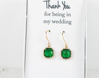 Emerald Gold Earrings, Square Gold Green Earrings, Emerald Wedding Jewelry, Bridesmaid Gift, Bridesmaid Earrings, Green Bridal Accessories