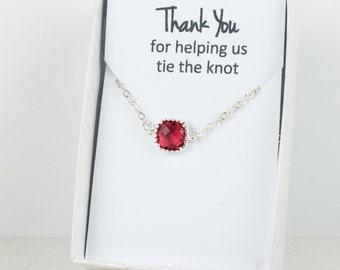 Ruby Silver Bracelet, Bridesmaid Ruby Bracelet, Silver Bracelet, Red Wedding Accessories, Bridesmaid Bracelet, Bridesmaid Jewelry