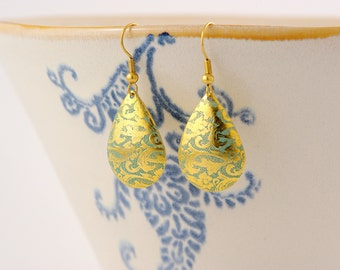 fine brass drop earrings with blue patina
