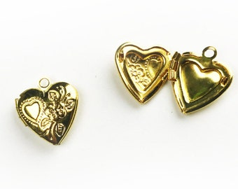 1pc Heart Locket Pendant - Gold Plated
