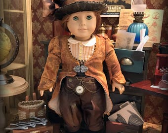 OOAK Victorian Steampunk Outfit for 18 Inch Dolls (such as American Girl):  Coat, Top Hat, Utility Corset/Belt, Shirt, and Knickerbockers