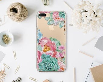 Floral Clear Case For Samsung Galaxy S6 Case iPhone 6 Clear Flowers Case For Apple iPhone 6s Case 6s Plus Phone Case Transparent Cover MN037