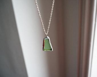 Emerald Green Sea Glass Pendant. Genuine English Sea Glass Jewellery. Green Sea Glass and Silver Necklace.  Unique Sea Glass Necklace.