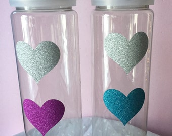 Valentine Water Bottle Glitter Hearts - Personalize it!  Add a custom name