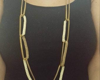 Stylish bronze leather women necklace, leather necklace, chain necklace, everydayuse necklace, bachelorette necklace, bride, women jewelery