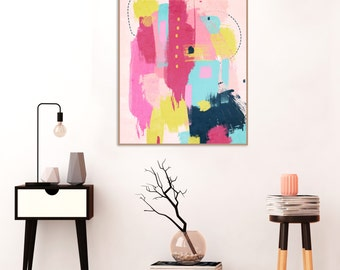 Pink Abstract Art, Pink, Blue and yellow Painting, Printable Wall Art, Instant Download, Large Art Prints, 16 x 20 inches