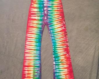 Rainbow Yoga Pants, Women's Large, Tie-dye Yoga Pants , Colorful Pants, Cotton Yoga Pants, striped yoga pants, cute yoga pants, A0417168
