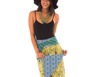Reversible Cotton Skirt Blue Green Yellow Red Black Floral Flower Print with Detachable Pocket Long Length