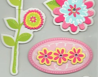 Flowers Garden Chipboard 3D Glitter Tag Stickers Forever In Time Scrapbook Embellishments Cardmaking Crafts