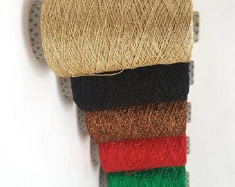 Metallic 4ply Glitter Chainette Yarn - Metallic Glitter Thread - 200g Cones Sparkling Lurex Yarn