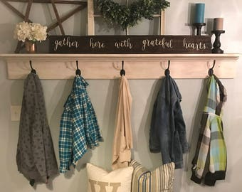 Gather here with grateful hearts Sign/ Rustic Woodrn Sign/Free Shipping