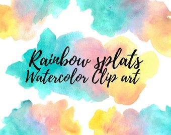 Watercolor splash - Rainbow clip art - Watercolor blob - Paint splash clip art - Commercial use