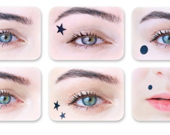 Temporary hearts and stars for a Harley Quinn (SuicideSquad) or Marina Diamandis (Marina and the Diamonds) look: stick-on beauty marks