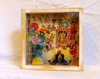The Circus Has Come To Town Vintage Shadowbox Diorama