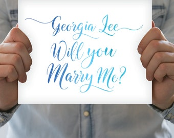 CUSTOM Watercolor Proposal - Will You Marry Me Sign - Blue Ombré Marriage Engagement - Choose Own Words & 3 Colors - PRINTED sign or PDF