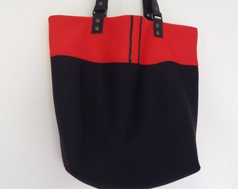 "SOLD: Tote ""Lorella"", reversible bag, big bag, handbag, tote bag, leather handles, neoprene, red and black bag, tote bag, hobo"