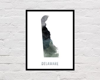 Delaware Map Print, Printable Delaware State Map, Delaware Art Print, Delaware Printable Wall Art, Watercolor Map, Delaware Poster, Download