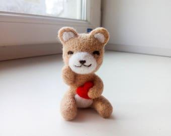 Tiny bear needle felted animal kawaii cute gift animal miniature anime gifts needle felted bear teddy bear cute bear sweet gift for her