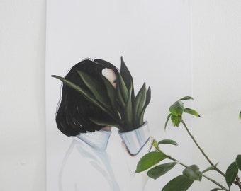 Hidden garden - Art drawing portrait print illustration